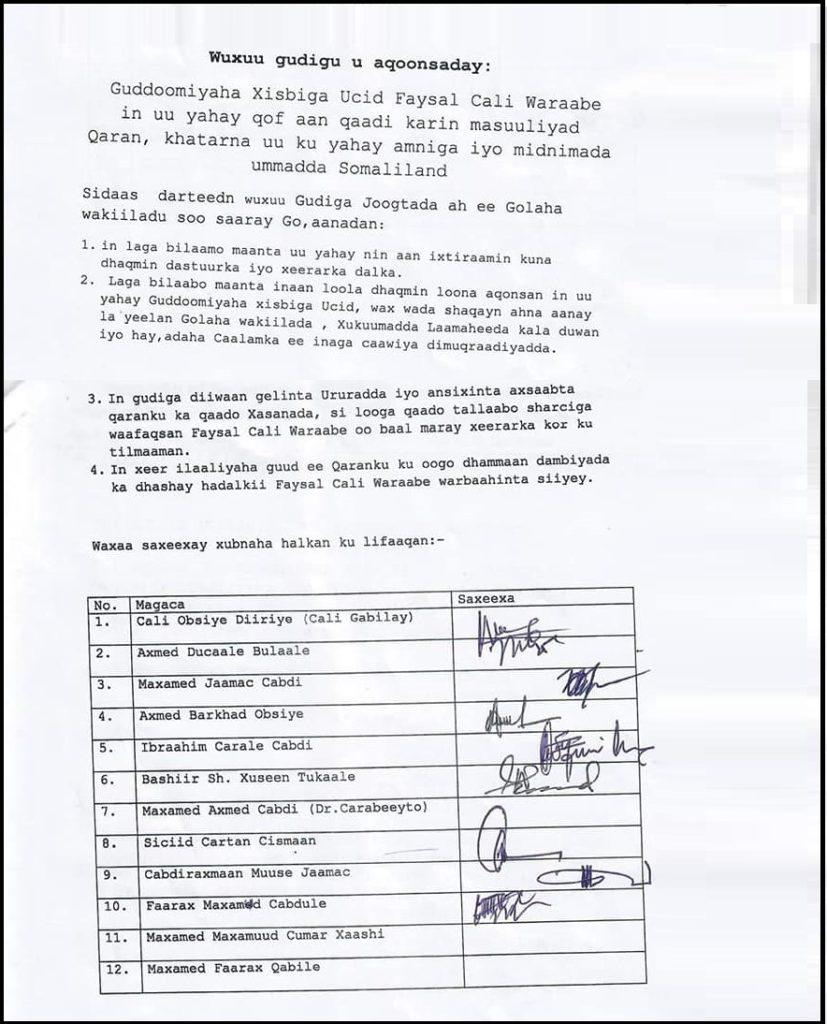 Baarlamaanka Somaliland oo ku dhowaaqay Xil ka Qaadista Faysal ...